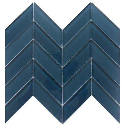 Edge 1 x 2 Glass Mosaic Tile in Navy