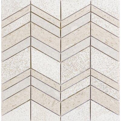 Presidio Chevron Random Sized Limestone Mosaic Tile in Ivory