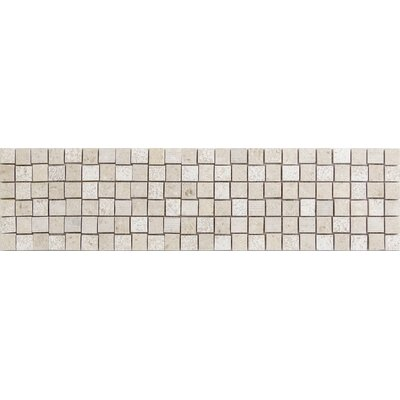 Presidio Chevron 1 x 1 Limestone Mosaic Tile in Ivory