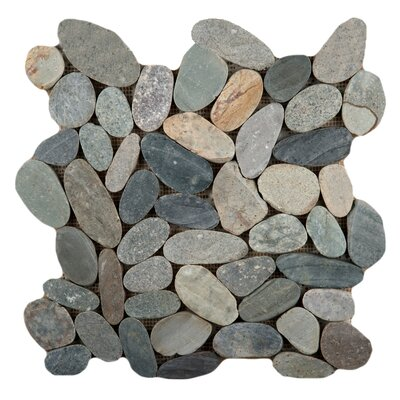 Flat Venetian Pebble Random Sized Natural Stone Mosaic Tile in Green