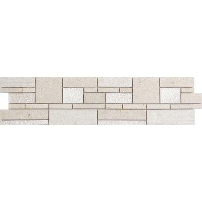 Presidio Random Sized Limestone Mosaic Tile in Ivory