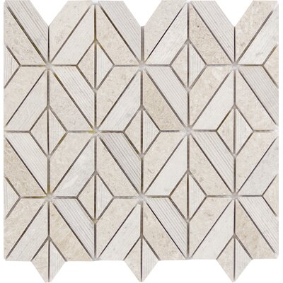 Presidio Rhombus Limestone Mosaic Tile in Ivory