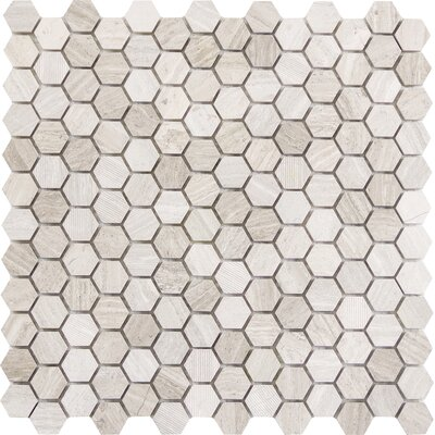 Metro Hex Mix 1 x 1 Marble Mosaic Tile in Cream