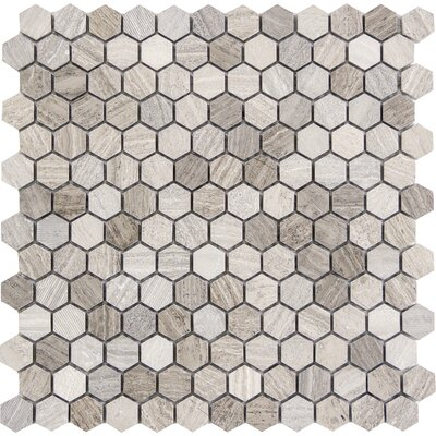 Metro Hex Mix 1 x 1 Marble Mosaic Tile in Gray