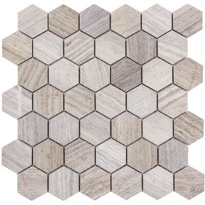 Metro Hex Mix 2 x 2 Marble Mosaic Tile in Gray