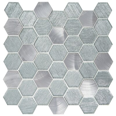 Glitz 2 x 2 Glass/Aluminum Mosaic Tile in Fame