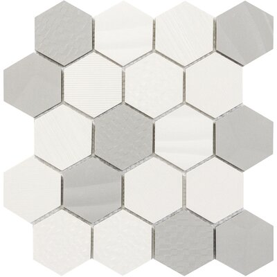 Surface Hex 3 x 3 Porcelain Mosaic Tile in Blend