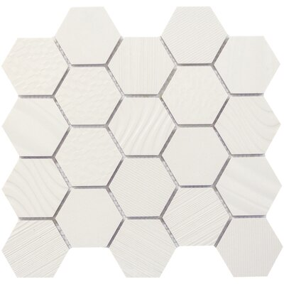 Surface Hex 3 x 3 Porcelain Mosaic Tile in White