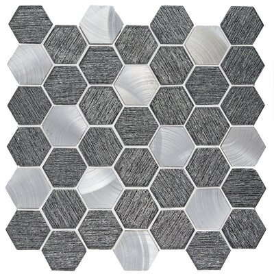 Glitz 2 x 2 Glass/Aluminum Mosaic Tile in Value