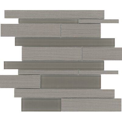 Thread Linear Random Sized Porcelain Mosaic Tile in Gray