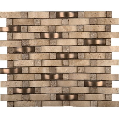 Wave Be 1 x 2 Travertine/Metal Mosaic Tile in Compound