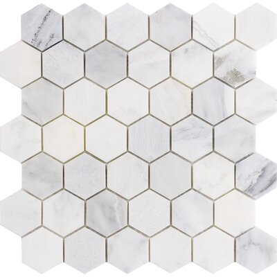 Winter Hex Mix 2 x 2 Marble Mosaic Tile in Frost