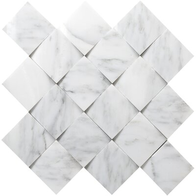 Winter Cushion Marble Mosaic Tile in Frost