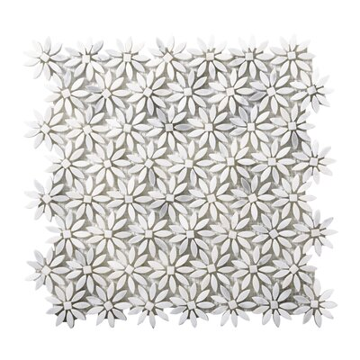 Winter Daisy Marble Mosaic Tile in Frost
