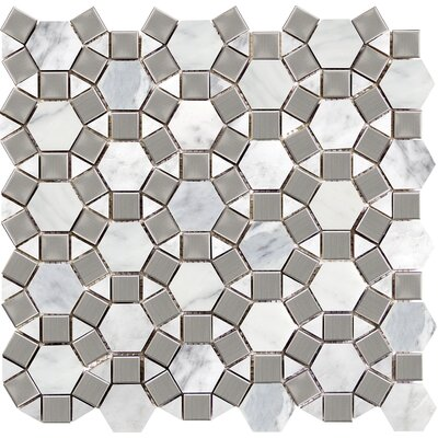 Winter Gem 12 x 13 Marble Mosaic Tile in Frost