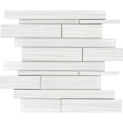 Thread Random Sized Porcelain Mosaic Tile in White