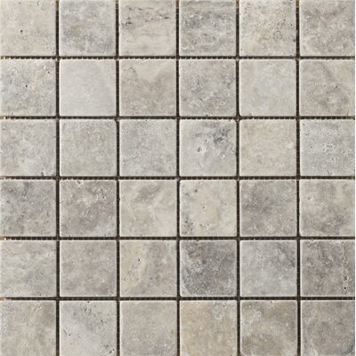 Trav Anc Tumbled 2 x 2 Travertine Mosaic Tile in Silver