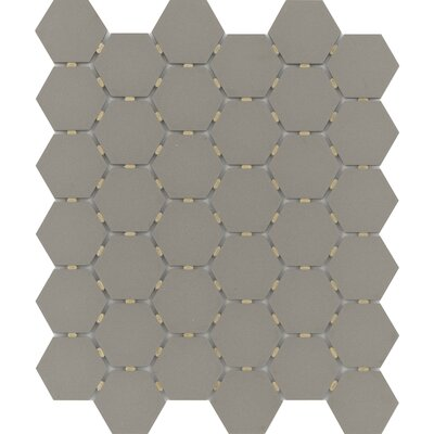 Zone Hex 2 x 2 Porcelain Mosaic Tile in Matte Taupe