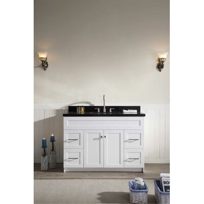 Westman 49 Single Bathroom Vanity Set Base Finish: White, Top Finish: Black