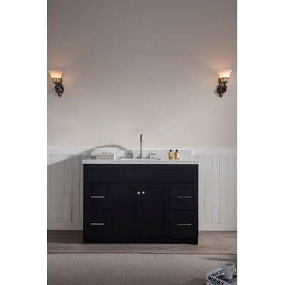 Westman 49 Single Bathroom Vanity Set Base Finish: Black, Top Finish: White