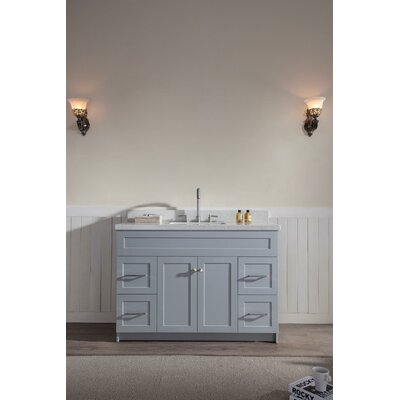 Westman 49 Single Bathroom Vanity Set Base Finish: Gray, Top Finish: White