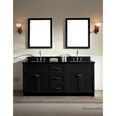 Westman 73 Double Bathroom Vanity Set Base Finish: Black, Top Finish: Black