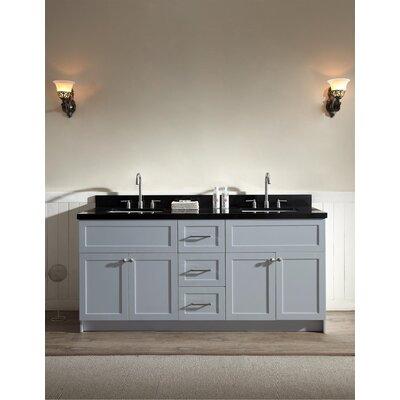 Westman 73 Double Bathroom Vanity Set Base Finish: Gray, Top Finish: Black