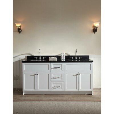 Westman 73 Double Bathroom Vanity Set Base Finish: White, Top Finish: Black