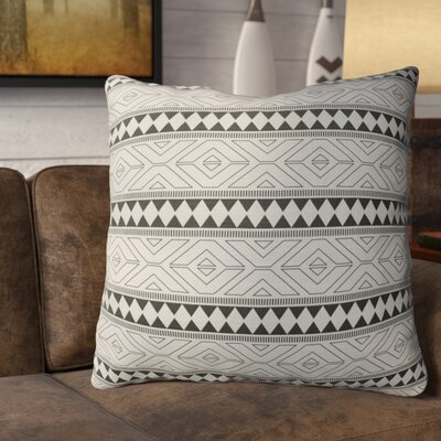 Rogers Burlap Throw Pillow Size: 16 H x 16 W x 5 D, Color: Black/ Grey