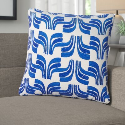 Warnke Geometric Embroidered 100% Cotton Throw Pillow Color: Blue