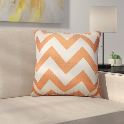 Strawn Chevron Cotton Throw Pillow Color: Orange