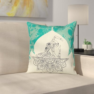 Mystical Mandala Yoga Square Pillow Cover Size: 16 x 16