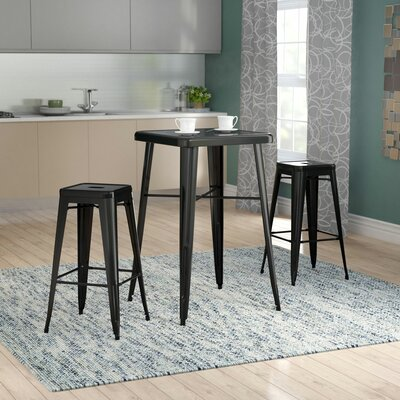 Athens 3 Piece Bar Table Set Color: Black