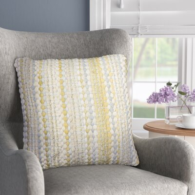 Belfort Braided Decorative Cotton Throw Pillow Color: Yellow/Gray
