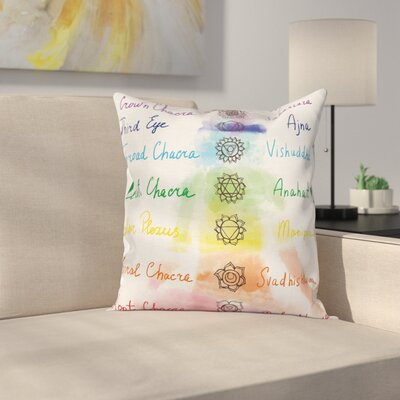 Lotus Yoga Pose Chakra Faith Square Pillow Cover Size: 24 x 24