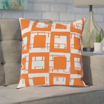 Geometric Decorative Throw Pillow Size: 16 H x 16 W, Color: Celosia Orange