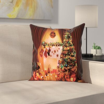 Christmas Tree Lights Gifts Square Pillow Cover Size: 16 x 16