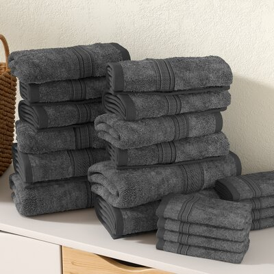 Gregoire Soft and Luxurious Cotton 20 Piece Towel Set Color: Gray