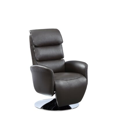 Jozwiak Leather Recliner Upholstery: Brown