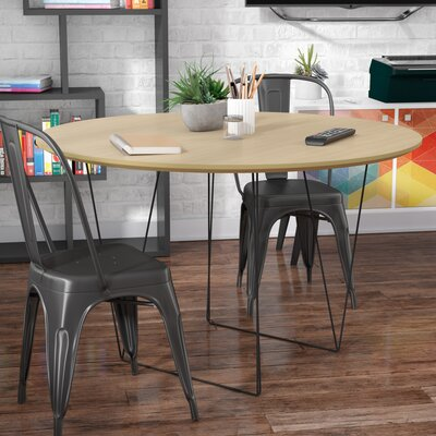 Loganne Circular 29H x 47W x 47L Conference Table Finish: Oak/Black Steel