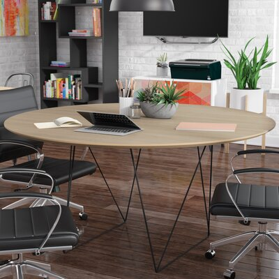 Row 4.9 Circular Conference Table Finish: Walnut/Black Steel