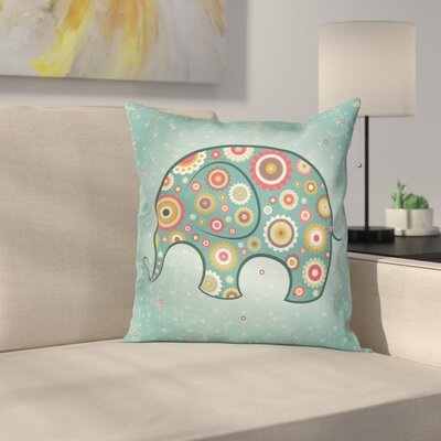 Elephant with Flowers Cushion Pillow Cover Size: 18 x 18