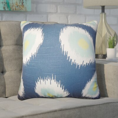 Lemos Ikat Cotton Throw Pillow Color: Blue