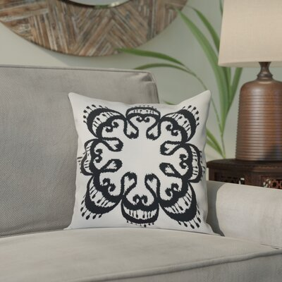 Oliver Ikat Mandala Geometric Print Throw Pillow Size: 16 H x 16 W, Color: Black