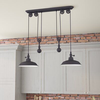 Ariel 2-Light Kitchen Island Pendant Finish: Antique Bronze