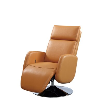 Maysville Leather Handle Manual Recliner Upholstery: Cognac