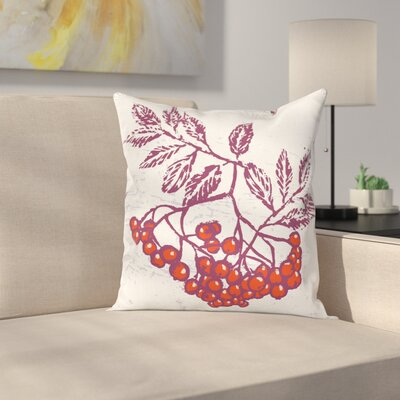 Artistic Berry Bunch Food Square Pillow Cover Size: 16