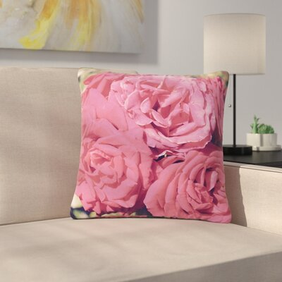 Susan Sanders Blush Blooming Roses Floral Photography Outdoor Throw Pillow Size: 16 H x 16 W x 5 D