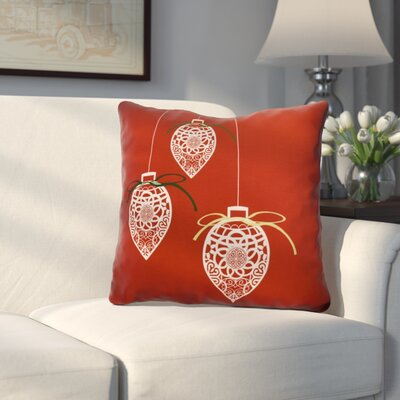 Decorative Holiday Geometric Print Outdoor Throw Pillow Size: 20 H x 20 W, Color: Red