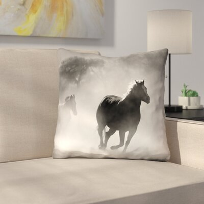Aminata Galloping Horses Double Sided Linen Print Throw Pillow Size: 14 x 14